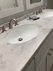 Image showing a thicker counter top installed in a remodel project by Bath Fixer of La Crosse